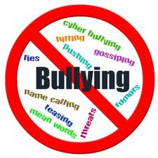 No Bullying logo- showing circle around and red line through the word Bullying